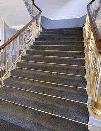 Sweeping grand Staircase with Brass Bars at Wallsend Town Hall